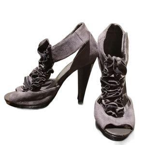 MARYPAZ Gray Satin Ruffle Peep-toe Heels (Size 6)